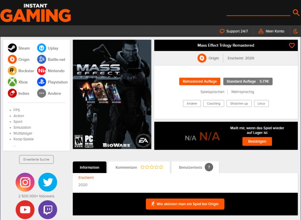 Listung der Mass Effect Triology als Remastered Version